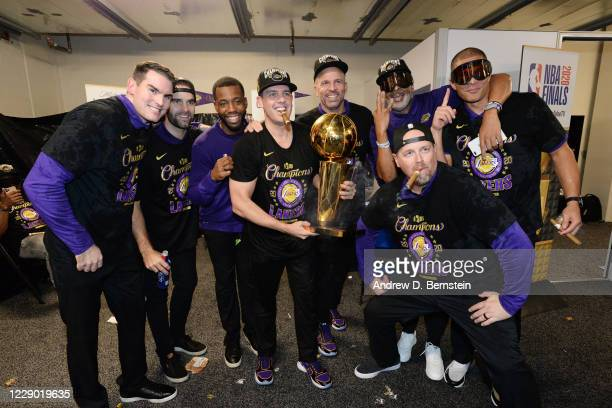 The Los Angeles Lakers coaching staff celebrates after winning Game Six of the NBA Finals on October 11, 2020 at The AdventHealth Arena at ESPN Wide...