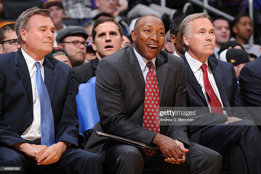The Los Angeles Lakers coaching staff during a game against the New York Knicks at Staples Center on March 25, 2014 in Los Angeles, California.