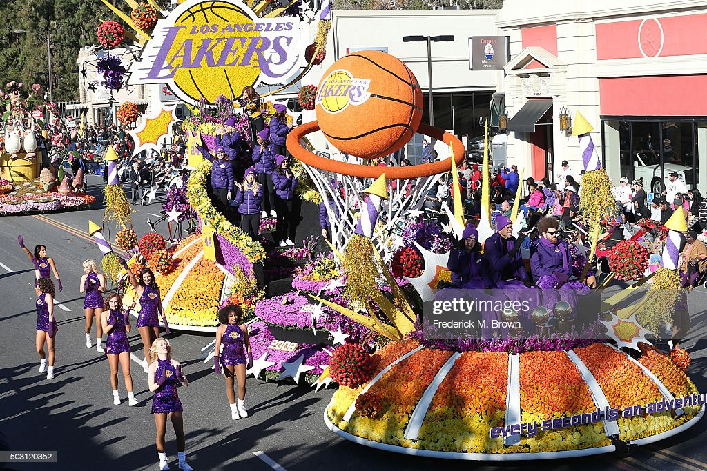 The Los Angeles Lakers float winner of the Judges' Special Award on the parade route during the 127th Tournament of Roses Parade Presented by Honda on January 1, 2016 in Pasadena, California.