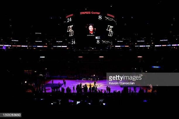 The Los Angeles Lakers honor Kobe Bryant and daughter Gigi with images displayed on the scoreboard before the game against the Portland Trail Blazers...