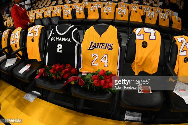 The Los Angeles Lakers honors Kobe Bryant and Gigi Bryant before the game on January 31 2020 at STAPLES Center in Los Angeles California NOTE TO USER...