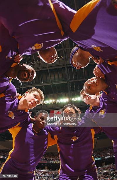 The Los Angeles Lakers huddle as they get ready to take on the San Antonio Spurs in Game one of the Western Conference Semifinals at the SBC Center...