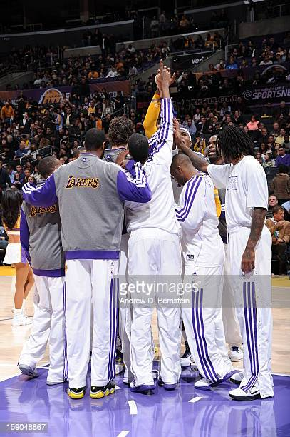 The Los Angeles Lakers huddle together before playing the Denver Nuggets at Staples Center on January 6 2013 in Los Angeles California NOTE TO USER...