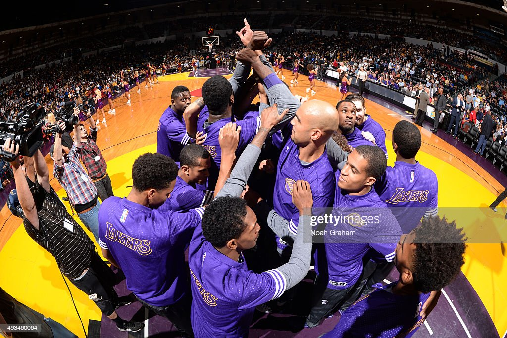 The Los Angeles Lakers huddle up before a preseason game against the Golden State Warriors on October 17, 2015 at Valley View Casino Center in San Diego, California.