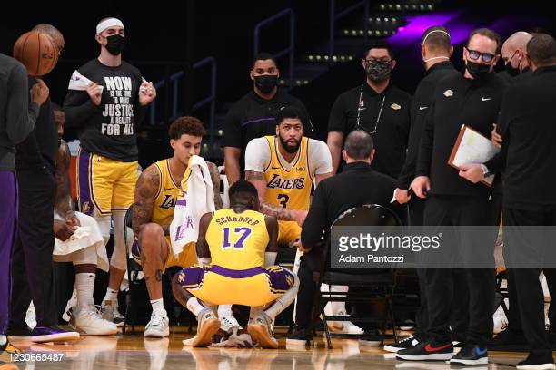 The Los Angeles Lakers huddle up during the game against the Golden State Warriors on January 18, 2021 at STAPLES Center in Los Angeles, California....