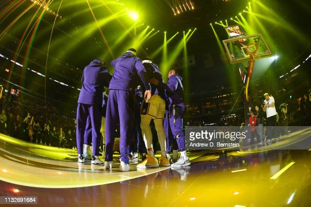 The Los Angeles Lakers huddles before the game against the Sacramento Kings on March 24 2019 at STAPLES Center in Los Angeles California NOTE TO USER...