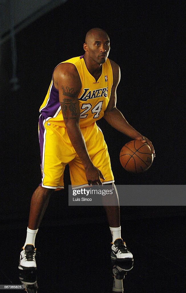 The los angeles lakers kobe bryant handles the ball for a photo the los angeles lakers kobe bryant handles the ball for a photo shoot during the voltagebd Images