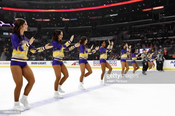 The Los Angeles Lakers Laker Girls perform during the first intermission of the game between the New Jersey Devils and the Los Angeles Kings on the...