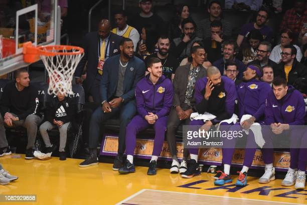 The Los Angeles Lakers look on during the game against the Cleveland Cavaliers on January 13 2019 at STAPLES Center in Los Angeles California NOTE TO...