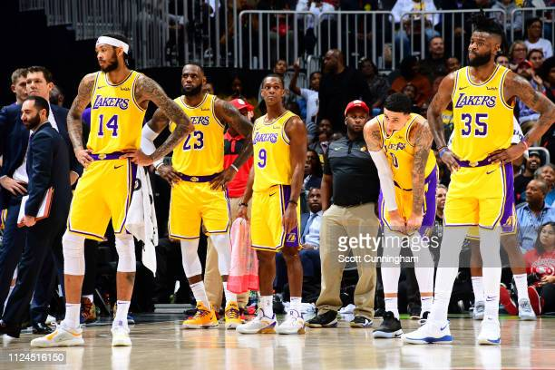 The Los Angeles Lakers looks on against the Atlanta Hawks on February 12 2019 at State Farm Arena in Atlanta Georgia NOTE TO USER User expressly...