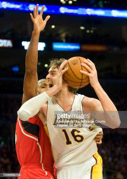 The Los Angeles Lakers' Pau Gasol tries to get past the Atlanta Hawks' Al Horford at Staples Center in Los Angeles CA on November 2 2013