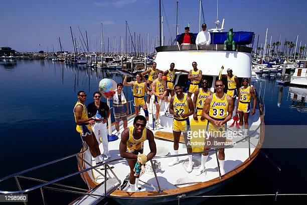 The Los Angeles Lakers pose for a photo on a boat in Los Angleles California NOTE TO USER User expressly acknowledges and agrees that by downloading...