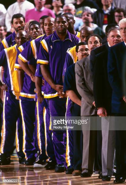The Los Angeles Lakers stand for the anthem circa 1996 at Key Arena in Seattle Washington NOTE TO USER User expressly acknowledges and agrees that by...