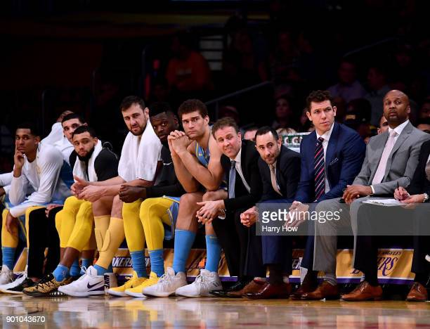 The Los Angeles Lakers watch play during a 13396 loss to the Oklahoma City Thunder at Staples Center on January 3 2018 in Los Angeles California