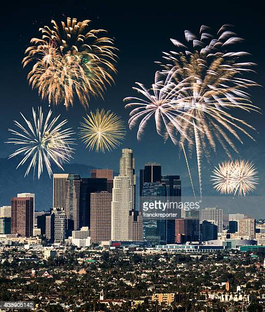 the Los Angeles on the night with new year fireworks
