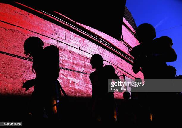 The Los Angeles Rams head to the field before the game against the Minnesota Vikings at Los Angeles Memorial Coliseum on September 27 2018 in Los...
