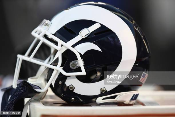 The Los Angeles Rams helmets on the bench during their game against the Oakland Raiders at OaklandAlameda County Coliseum on September 10 2018 in...