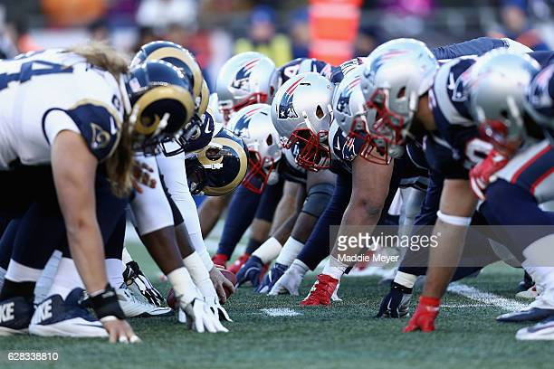 The Los Angeles Rams prepare to snap the ball against the New England Patriots during their game at Gillette Stadium on December 4 2016 in Foxboro...