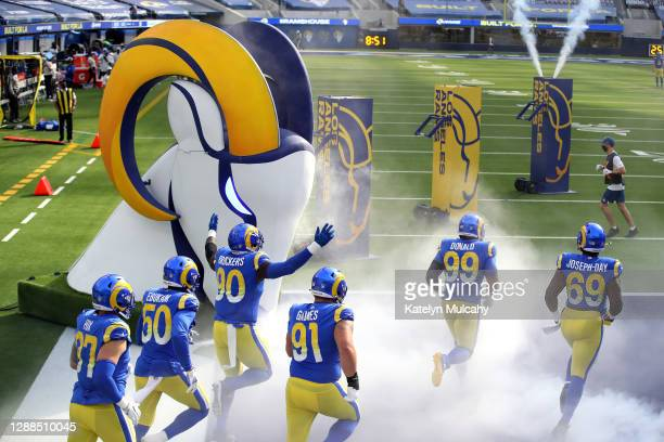 The Los Angeles Rams take the field before their game against the San Francisco 49ers at SoFi Stadium on November 29, 2020 in Inglewood, California.