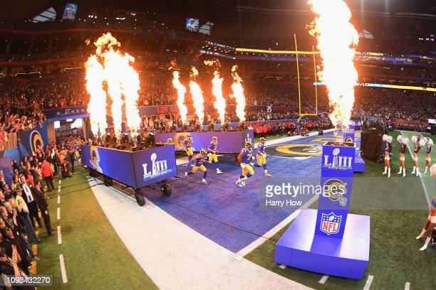 The Los Angeles Rams take the field prior to kickoff at Super Bowl LIII against the New England Patriots at MercedesBenz Stadium on February 3 2019...
