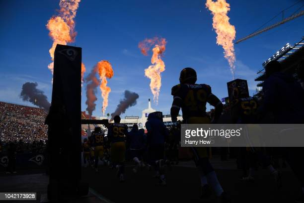 The Los Angeles Rams take the field to play the Minnesota Vikings at Los Angeles Memorial Coliseum on September 27 2018 in Los Angeles California