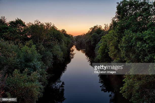 The Los Angeles River runs through the Sepulveda Basin Recreation Area, Los Angeles, California.