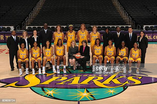 The Los Angeles Sparks along with coaches and staff pose for an annual team portrait on August 30 2008 at Staples Center in Los Angeles California...