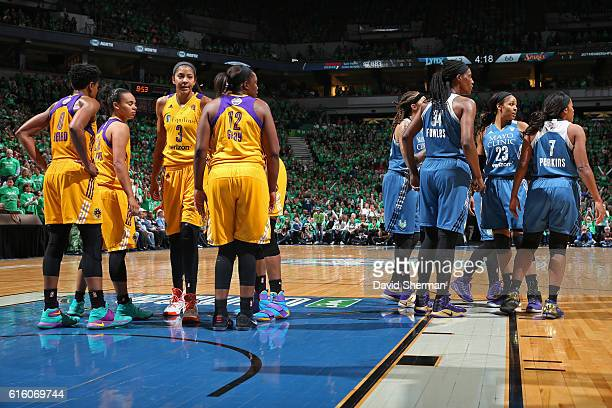 The Los Angeles Sparks and the Minnesota Lynx huddle up on the court during Game Five of the 2016 WNBA Finals on October 20 2016 at Target Center in...