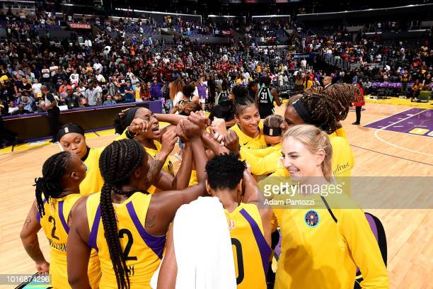 The Los Angeles Sparks celebrate after the game against the New York Liberty on August 14 2018 at Staples Center in Los Angeles California NOTE TO...