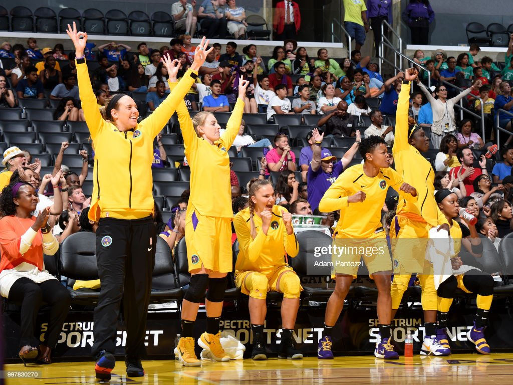 The Los Angeles Sparks celebrate during the game against the Dallas Wings on July 12, 2018 at STAPLES Center in Los Angeles, California.