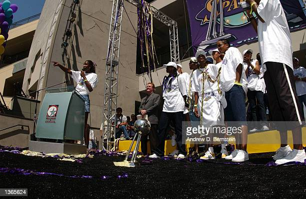 The Los Angeles Sparks celebrate their Back to Back World Championships at the New Hollywood and Highland complex in Los Angeles California on...