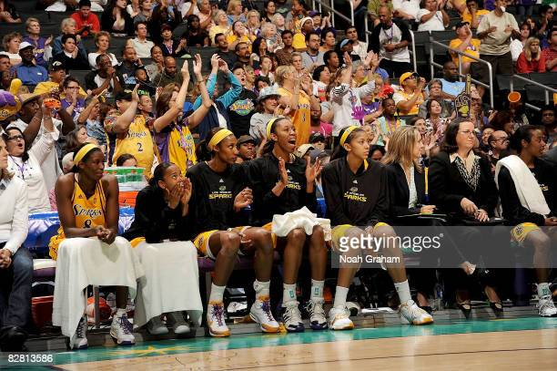 The Los Angeles Sparks cheer from the bench during the game against the Seattle Storm on September 14 2008 at Staples Center in Los Angeles...