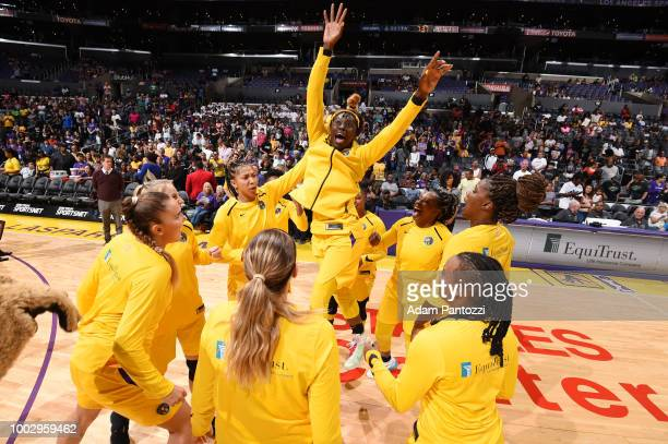 The Los Angeles Sparks huddle before the game against the Indiana Fever on July 20, 2018 at STAPLES Center in Los Angeles, California. NOTE TO USER:...