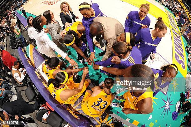 The Los Angeles Sparks huddle before the game against the Minnesota Lynx on July 3 2008 at Staples Center in Los Angeles California NOTE TO USER User...