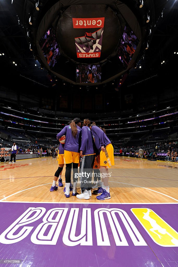 The Los Angeles Sparks huddle during warmups before a game against the Minnesota Lynx on June 16, 2015 at Staples Center in Los Angeles, California.