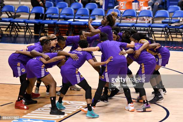 The Los Angeles Sparks huddle up before the game against the Dallas Wings on June 9 2017 at the College Park Center in Arlington Texas NOTE TO USER...