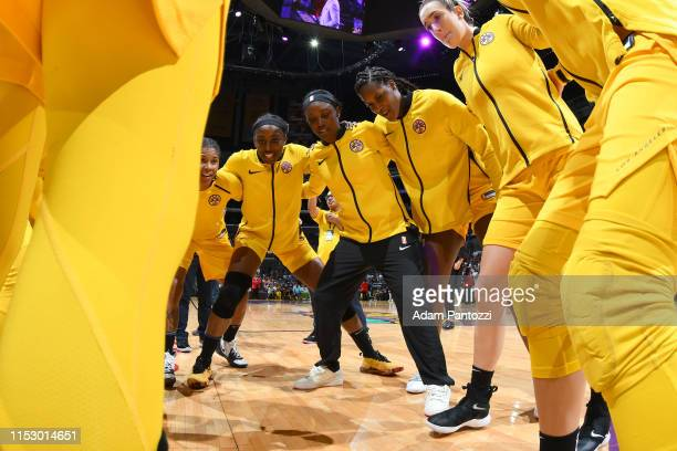 The Los Angeles Sparks huddles up before the game against the Chicago Sky on June 30 2019 at the Staples Center in Los Angeles California NOTE TO...