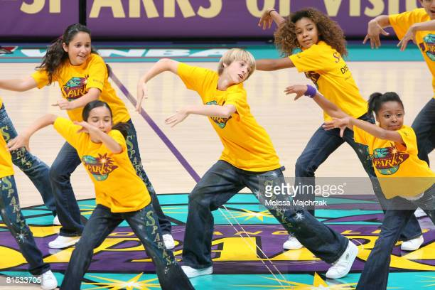 The Los Angeles Sparks Kids perform during a break in the action of the game between the Detroit Shock and the Los Angeles Sparks at Staples Center...