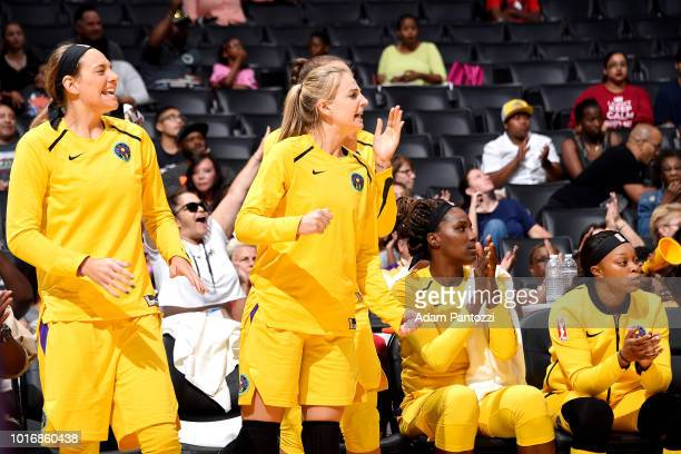 The Los Angeles Sparks reacts during the game against the New York Liberty on August 14 2018 at Staples Center in Los Angeles California NOTE TO USER...