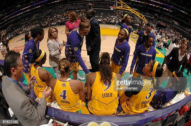 The Los Angeles Sparks sit on the bench during the game against the Chicago Sky on June 18 2008 at Staples Center in Los Angeles California NOTE TO...