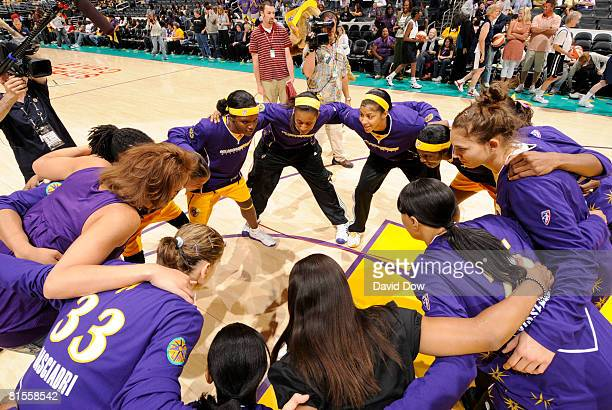 The Los Angeles Sparks team huddles before taking on the Connecticut Sun at Staples Center on June 13 2008 in Los Angeles California NOTE TO USER...