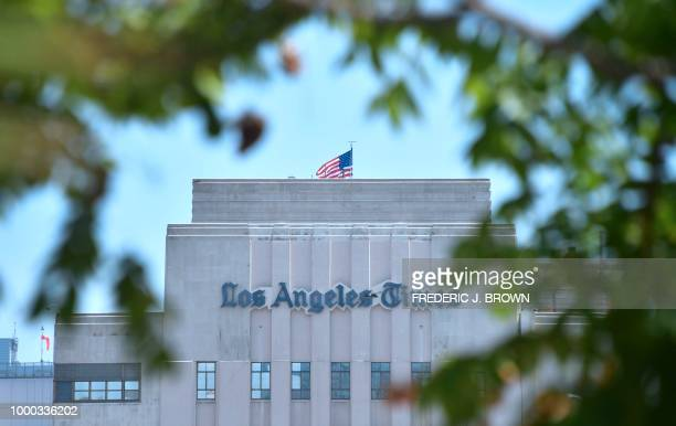 The Los Angeles Times office building in downtown Los Angeles California is seen on July 16 2018 The newspaper is preparing a legal fight after a...