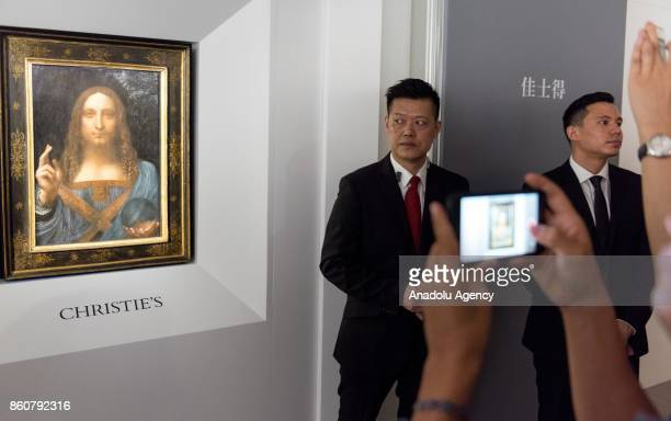 The Lost Da Vinci goes on display to the public in the Christie's Auction house showrooms Admiralty Hong Kong on October 13 2017 It is the first time...