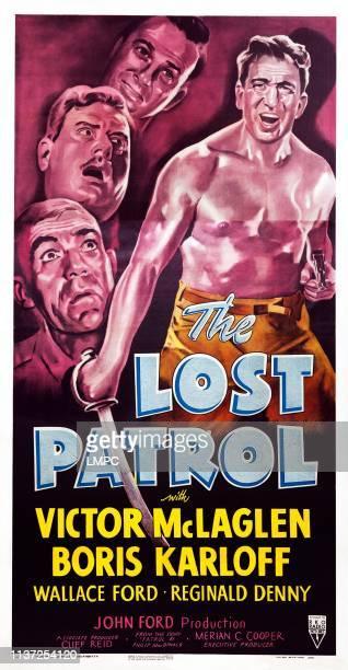 The Lost Patrol poster US poster art clockwise from bottom left Boris Karloff Alan Hale Reginald Denny Victor McLaglen 1934