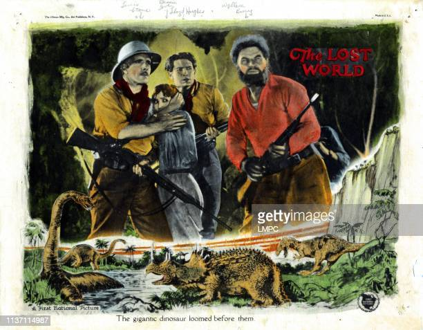 The Lost World lobbycard from left Lewis Stone Bessie Love Lloyd Hughes Wallace Beery 1925