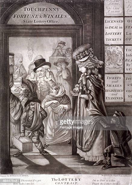 'The Lottery Contrast' 1760 The entrance to Touchpenny Fortune and Winall's State Lottery Office clerks are at a table within oyster woman exulting...