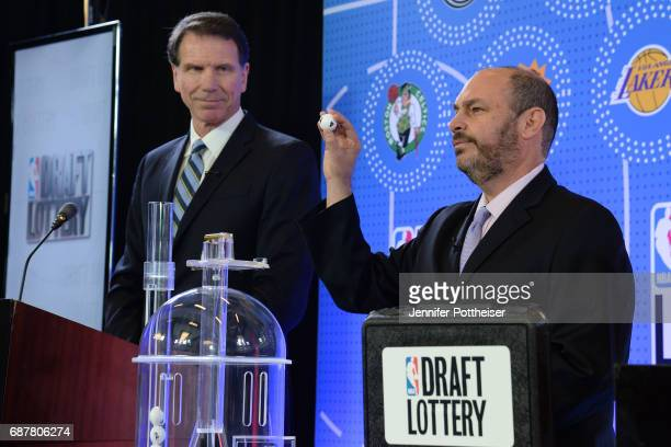 The lottery drawing begins inside the lottery room during the 2017 NBA Draft Lottery at the New York Hilton in New York New York NOTE TO USER User...