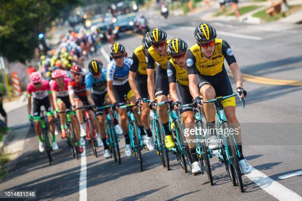 The LottoNL Jumbo team controls the front of the peloton during stage 4 of the 14th Larry H Miller Tour of Utah on August 10 2018 in Salt Lake City...