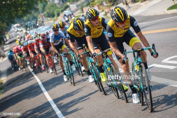 The LottoNL Jumbo team sets the pace on the front of the peloton during stage 4 of the 14th Larry H Miller Tour of Utah on August 10 2018 in Salt...