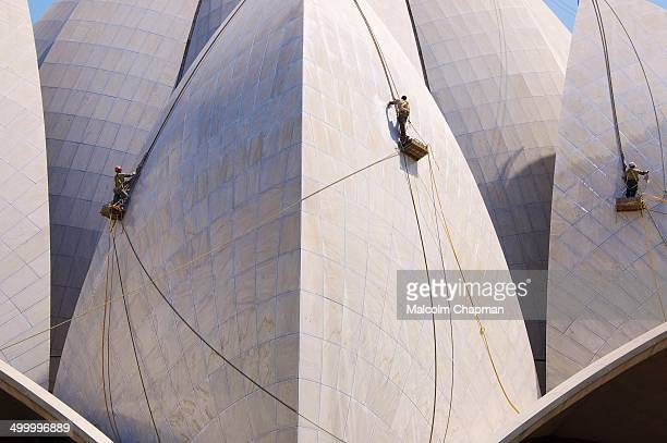 CONTENT] The Lotus Temple being cleaned The stunning temple made of Greek white marble was designed by Fariborz Sahba